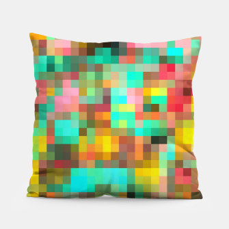 Miniatur geometric square pixel pattern abstract in green yellow pink Pillow, Live Heroes