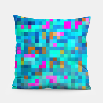 Thumbnail image of geometric square pixel pattern abstract in blue green pink Pillow, Live Heroes
