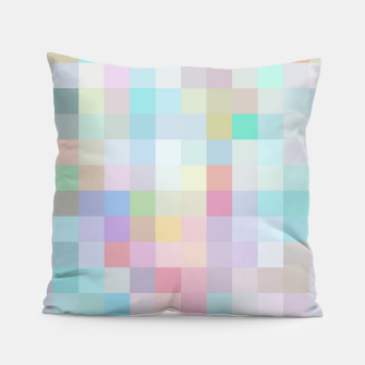 Thumbnail image of geometric square pixel pattern abstract in blue and pink Pillow, Live Heroes