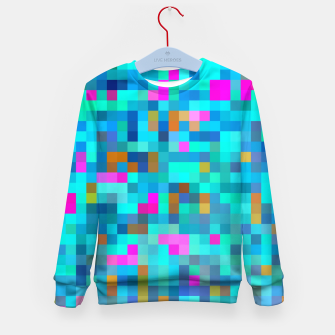 Thumbnail image of geometric square pixel pattern abstract in blue green pink Kid's sweater, Live Heroes