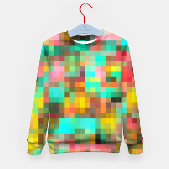 Miniatur geometric square pixel pattern abstract in green yellow pink Kid's sweater, Live Heroes
