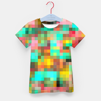 Miniatur geometric square pixel pattern abstract in green yellow pink Kid's t-shirt, Live Heroes