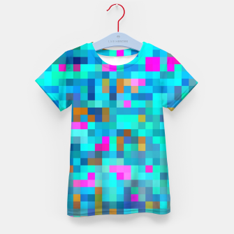 Thumbnail image of geometric square pixel pattern abstract in blue green pink Kid's t-shirt, Live Heroes