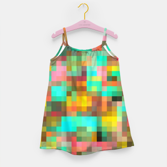 Miniatur geometric square pixel pattern abstract in green yellow pink Girl's dress, Live Heroes