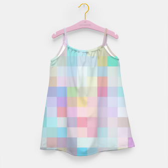 Thumbnail image of geometric square pixel pattern abstract in blue and pink Girl's dress, Live Heroes