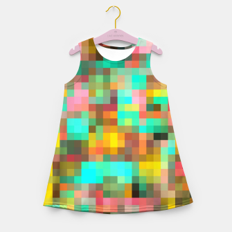 Miniatur geometric square pixel pattern abstract in green yellow pink Girl's summer dress, Live Heroes