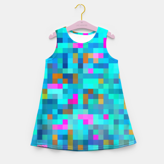 Thumbnail image of geometric square pixel pattern abstract in blue green pink Girl's summer dress, Live Heroes