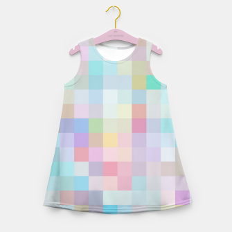 Thumbnail image of geometric square pixel pattern abstract in blue and pink Girl's summer dress, Live Heroes