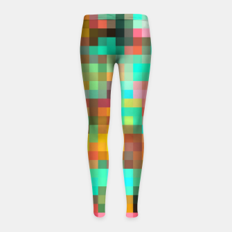 Miniatur geometric square pixel pattern abstract in green yellow pink Girl's leggings, Live Heroes