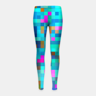 Thumbnail image of geometric square pixel pattern abstract in blue green pink Girl's leggings, Live Heroes