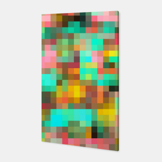 Miniatur geometric square pixel pattern abstract in green yellow pink Canvas, Live Heroes