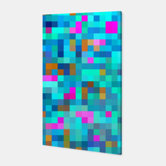 Thumbnail image of geometric square pixel pattern abstract in blue green pink Canvas, Live Heroes