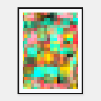 Miniatur geometric square pixel pattern abstract in green yellow pink Framed poster, Live Heroes