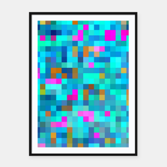 Thumbnail image of geometric square pixel pattern abstract in blue green pink Framed poster, Live Heroes