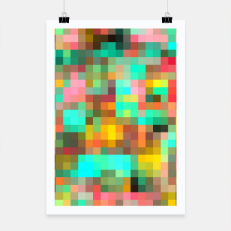 Miniatur geometric square pixel pattern abstract in green yellow pink Poster, Live Heroes