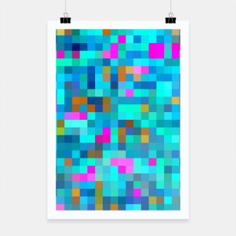 Thumbnail image of geometric square pixel pattern abstract in blue green pink Poster, Live Heroes
