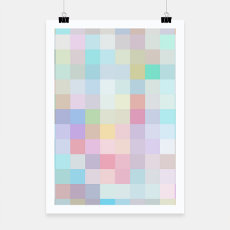 Thumbnail image of geometric square pixel pattern abstract in blue and pink Poster, Live Heroes
