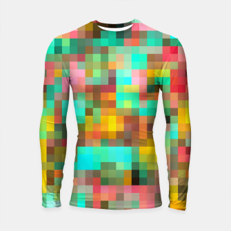 Imagen en miniatura de geometric square pixel pattern abstract in green yellow pink Longsleeve rashguard , Live Heroes