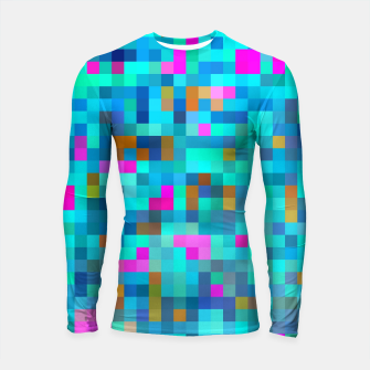 Thumbnail image of geometric square pixel pattern abstract in blue green pink Longsleeve rashguard , Live Heroes