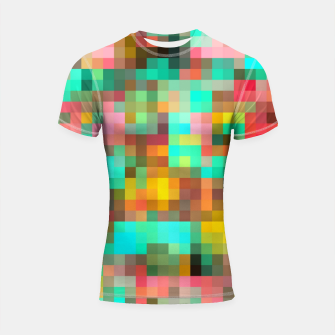 Imagen en miniatura de geometric square pixel pattern abstract in green yellow pink Shortsleeve rashguard, Live Heroes