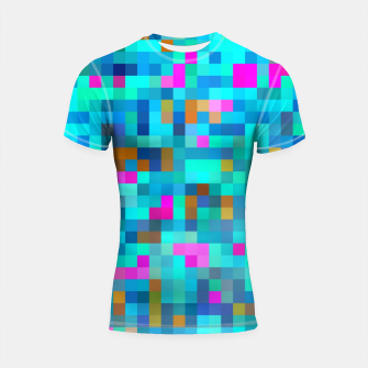 Thumbnail image of geometric square pixel pattern abstract in blue green pink Shortsleeve rashguard, Live Heroes