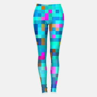 Thumbnail image of geometric square pixel pattern abstract in blue green pink Leggings, Live Heroes