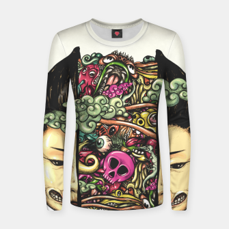 Thumbnail image of Split Head Gueisha Doodle Women sweater, Live Heroes