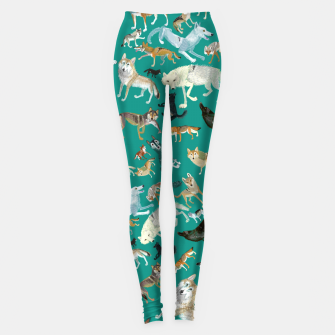 Thumbnail image of Wolves of the world green Leggings, Live Heroes