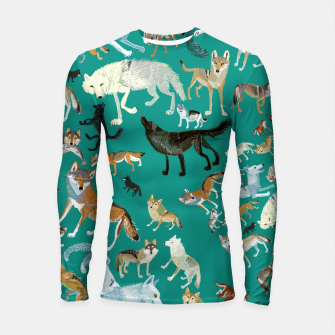 Miniatur Wolves of the world green Longsleeve rashguard, Live Heroes