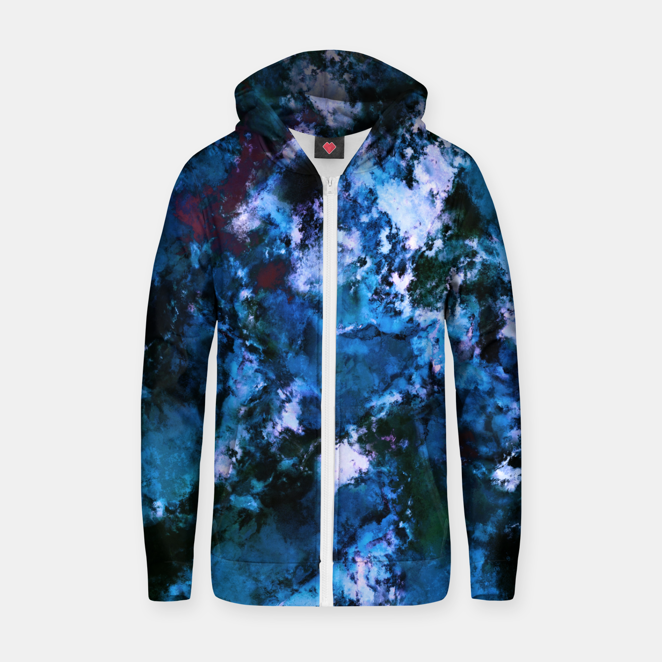 Image of Smouldering blue Zip up hoodie - Live Heroes