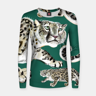 Miniatur Snow leopard in green Sudadera para mujeres, Live Heroes
