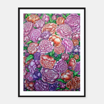 Peonies wave - watercolor Framed poster thumbnail image