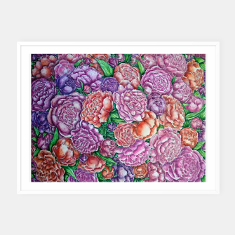 Thumbnail image of Peonies wave - watercolor Framed poster, Live Heroes