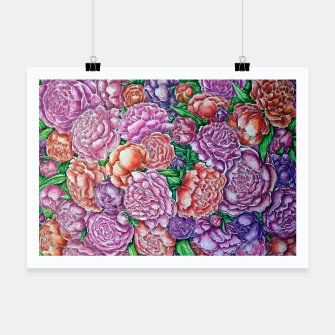 Thumbnail image of Peonies wave - watercolor Poster, Live Heroes