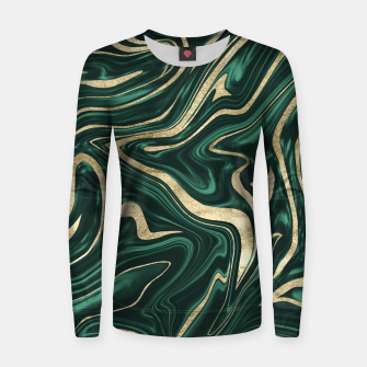 Emerald Green Black Gold Marble #1 #decor #art Frauen sweatshirt obraz miniatury