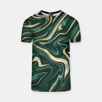 Emerald Green Black Gold Marble #1 #decor #art T-Shirt obraz miniatury