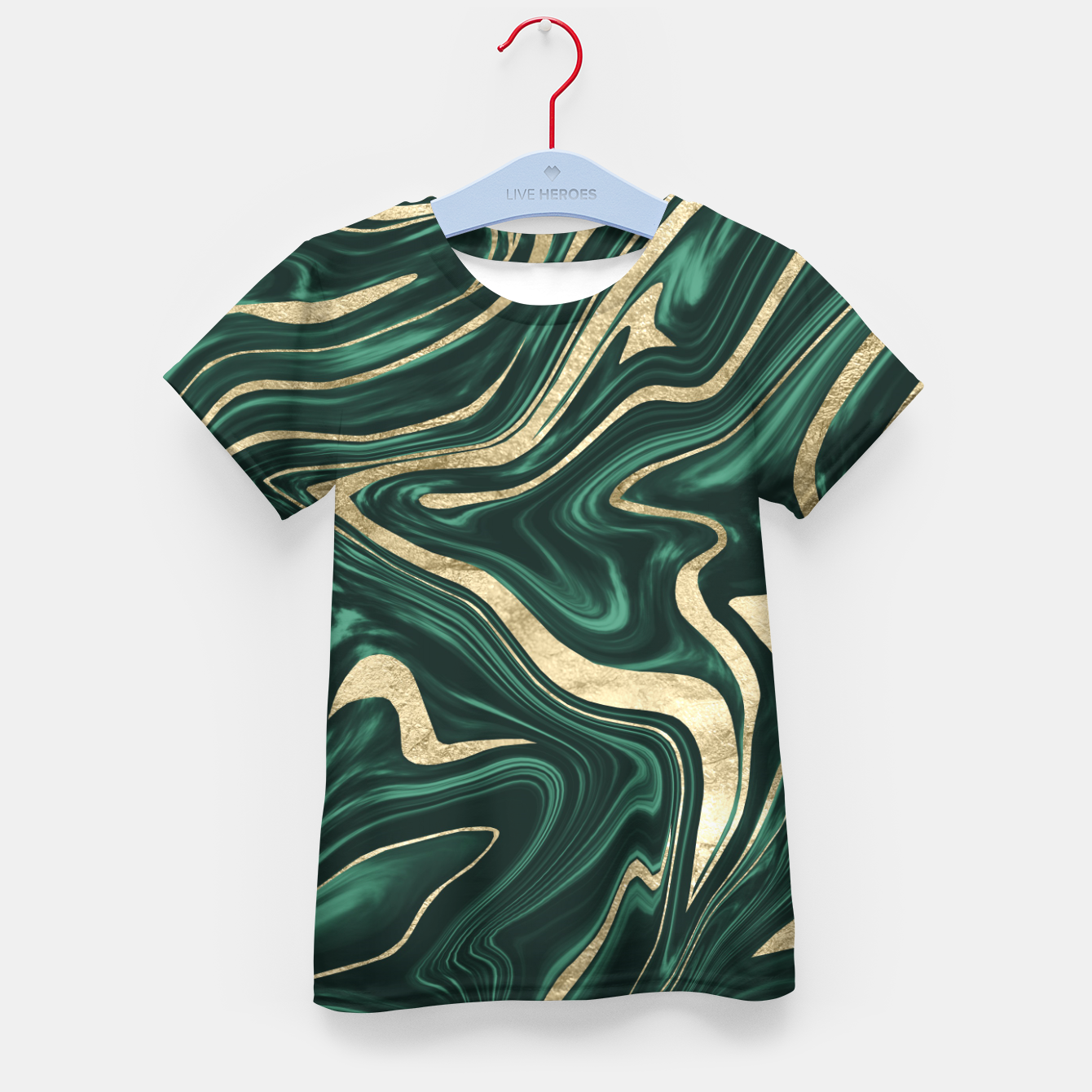 Zdjęcie Emerald Green Black Gold Marble #1 #decor #art T-Shirt für kinder - Live Heroes