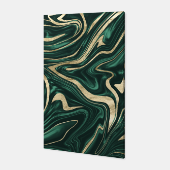 Emerald Green Black Gold Marble #1 #decor #art Canvas obraz miniatury