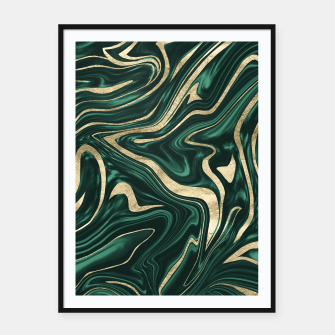 Miniaturka Emerald Green Black Gold Marble #1 #decor #art Plakat mit rahmen, Live Heroes