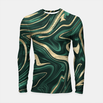 Emerald Green Black Gold Marble #1 #decor #art Longsleeve rashguard obraz miniatury