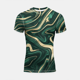 Emerald Green Black Gold Marble #1 #decor #art Shortsleeve rashguard obraz miniatury
