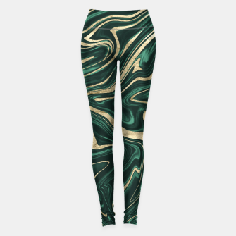 Emerald Green Black Gold Marble #1 #decor #art Leggings obraz miniatury
