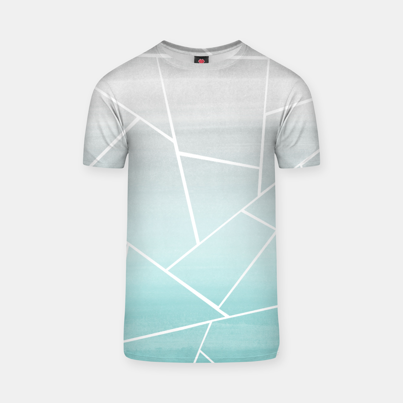 Zdjęcie Soft Teal Gray Watercolor Geometric Glam #1 #geo #decor #art  T-Shirt - Live Heroes