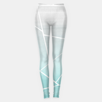 Soft Teal Gray Watercolor Geometric Glam #1 #geo #decor #art  Leggings obraz miniatury