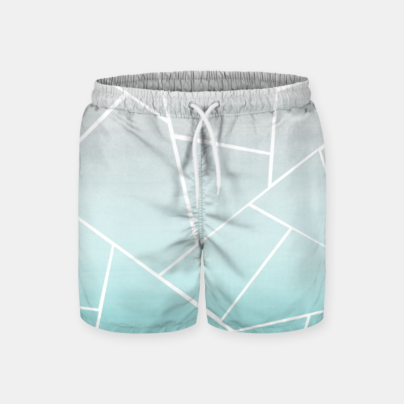 Zdjęcie Soft Teal Gray Watercolor Geometric Glam #1 #geo #decor #art  Badeshorts - Live Heroes