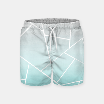 Soft Teal Gray Watercolor Geometric Glam #1 #geo #decor #art  Badeshorts obraz miniatury