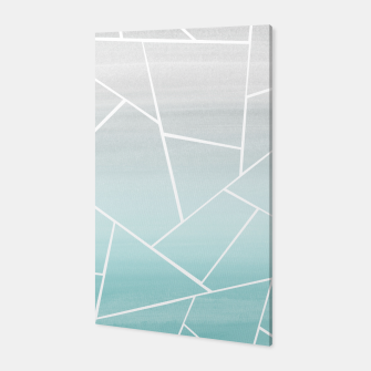 Soft Teal Gray Watercolor Geometric Glam #1 #geo #decor #art  Canvas obraz miniatury