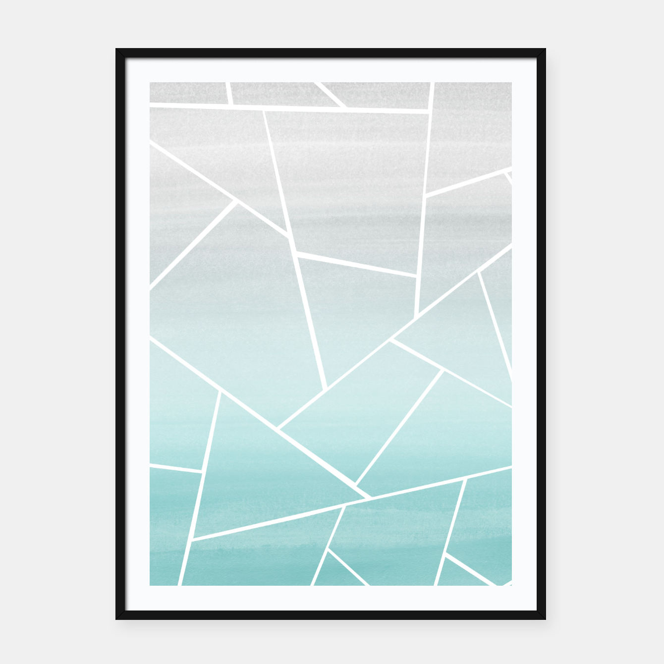 Zdjęcie Soft Teal Gray Watercolor Geometric Glam #1 #geo #decor #art  Plakat mit rahmen - Live Heroes