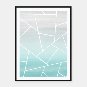 Soft Teal Gray Watercolor Geometric Glam #1 #geo #decor #art  Plakat mit rahmen obraz miniatury