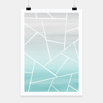 Soft Teal Gray Watercolor Geometric Glam #1 #geo #decor #art  Plakat obraz miniatury
